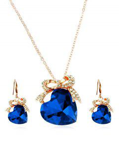 Artificial Crystal Heart Design Bowknot Necklace Earrings - Blueberry Blue