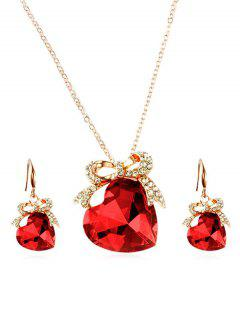 Artificial Crystal Heart Design Bowknot Necklace Earrings - Red