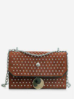 Studded Flap Sling Bag - Brown