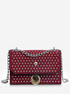Studded Flap Sling Bag - Red