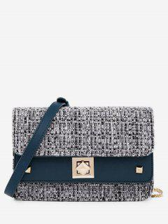 Plaid Mini Flap Crossbody Bag - Blue