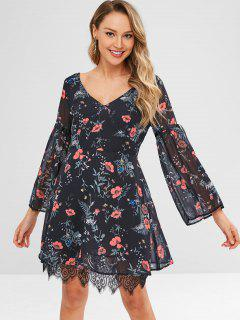 Plant Print Lace Hem Long Sleeve Dress - Black M