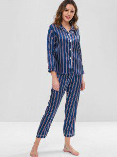 Striped Satin Shirt And Pants Pajama Set - Deep Blue L