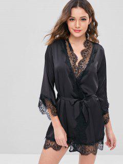 Belted Tonal Lace Satin Sleep Robe - Black M