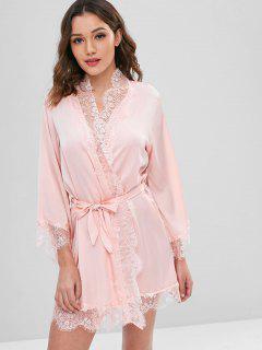 Belted Tonal Lace Satin Sleep Robe - Orange Pink Xl