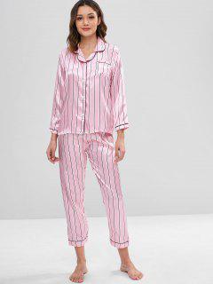 Conjunto De Pijama Y Camisa De Satén A Rayas - Rosado L