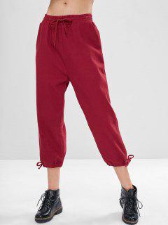 Pantalones Sueltos De Bolsillo Con Cordón - Vino Tinto L