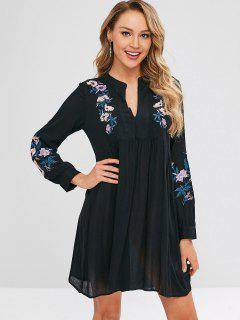Flower Embroiderd V Neck Dress - Black S