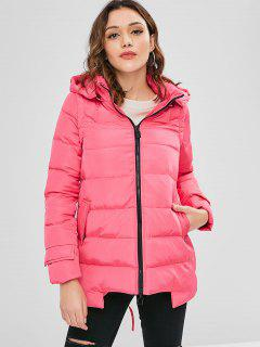 Hooded Quilted Jacket - Rose Red L