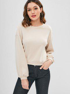 Back Twist Cotton Sweatshirt - Warm White M