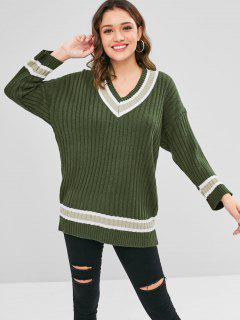 Drop Shoulder Contrast Tunic Sweater - Army Green