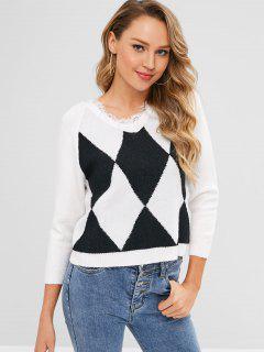 Argyle Raglan Sleeve Fringed Sweater - White