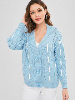 Cable Knit Drop Shoulder Chunky Cardigan - Day Sky Blue