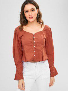 Button Up Pleated Blouse - Light Brown L