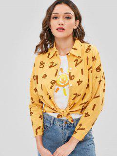Chemise En Coton Avec Numéro Graphique - Moutarde