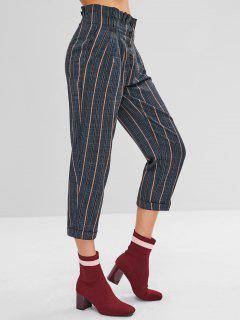 Button Fly Striped Capri Pants - Multi M