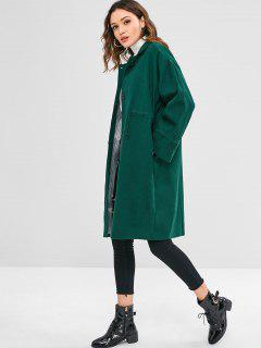 Manteau Lâche Droit Taille à Cordon - Vert Foncé L