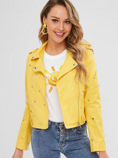 Belted Faux Leather Rivet Biker Jacket - Sun Yellow M