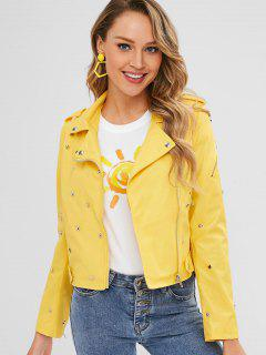 Belted Faux Leather Rivet Biker Jacket - Sun Yellow L