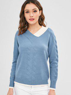 Pullover Raglan Sleeve V Cuello Suéter - Azul De Seda