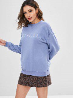 Letter Embroidered Crew Neck Sweatshirt - Light Slate Blue M