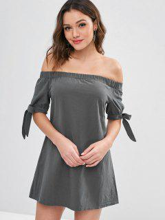 ZAFUL Knotted Off Shoulder Mini Dress - Gray M