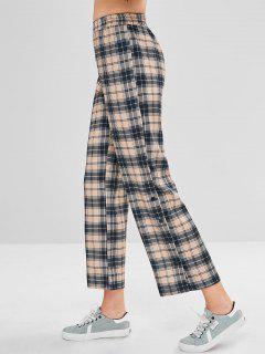 Seitentasten Plaid Wide Leg Pants - Multi S