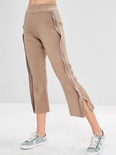 Slit Knit Wide Leg Pants - Camel Brown