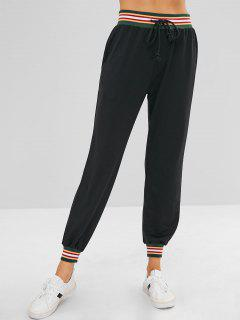 Contrast Drawstring Jogger Casual Pants - Black L