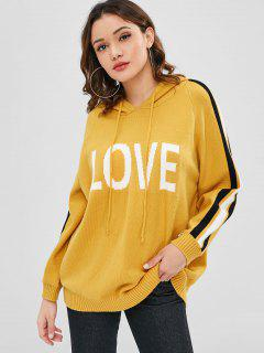 Side Stripe Love Graphic Hooded Sweater - Bright Yellow
