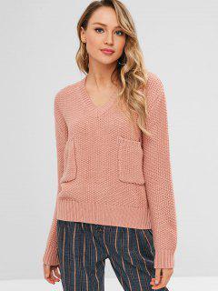 Bolsillos Con Cuello En V Suéter - Rosa Naranja