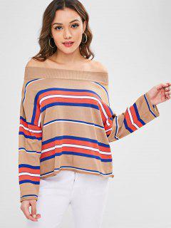 Eine Schulter Stripes Pullover - Multi