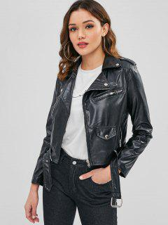 Faux Leather Belted Zip Biker Jacket - Black L