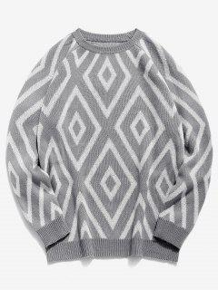 Geometric Crew Neck Knitted Sweater - Gray L