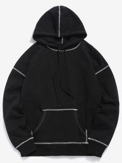 Contrast Flat Locked Seams Hoodie - Black Xl