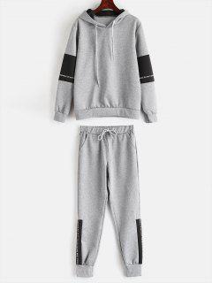 Contrast Letter Hoodie Sweatpants Suit - Gray S