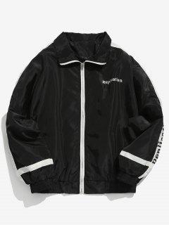 Letter Striped Lightweight Zip Jacket - Black Xl