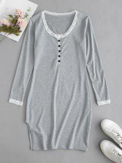 Long Sleeve Ribbed Mini Bodycon Dress - Gray Xl