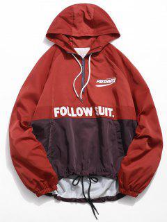 Contrast Half Zip Letter Pullover Jacket - Red Wine M