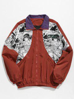 Japanese Traditional Pattern Patchwork Jacket - Red Wine M