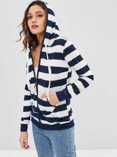 Striped Zip Up Hoodie - Multi Xl