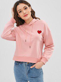 Heart Embroidered Drop Shoulder Hoodie - Pink
