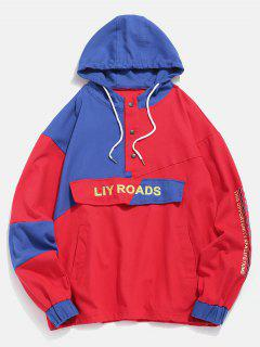 Color Block Letter Patch Pullover Jacket - Red Xl