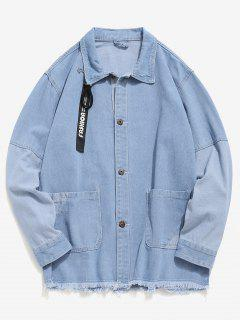 Frayed Hem Patch Denim Jacket - Light Blue Xl