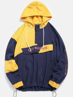Color Block Letter Patch Pullover Jacket - Azul Xl