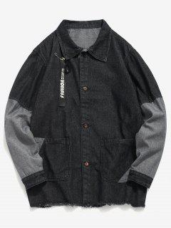 Frayed Hem Patch Denim Jacket - Black 3xl