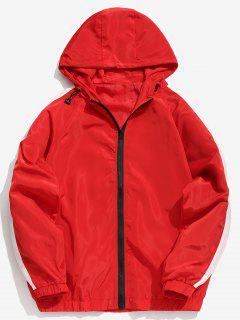 Striped Contrast Waterproof Zip Jacket - Red M