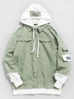 Ripped False Two Piece Denim Jacket - Dark Sea Green 2xl