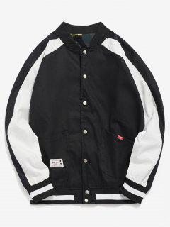 Raglan Sleeve Pocket Baseball Jacket - Black M