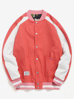 Raglan Sleeve Pocket Baseball Jacket - Lava Red Xl